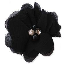 5cm Pearl Diamante BLACK Fabric Flower Applique